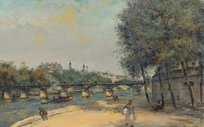 Картинка картина, городской пейзаж, Jean-Francois Raffaelli, Жан-Франсуа Рафаэлли, Французский Институт и Мост Искусств