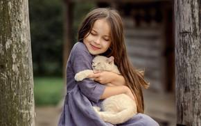 Картинка кошка, кот, настроение, дружба, девочка, котёнок, друзья