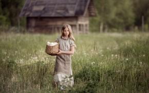 Картинка девочка, Марина Петра, хлопоты, деревня, корзина, трава