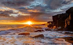 Картинка море, пляж, закат, скалы, берег, побережье, вечер