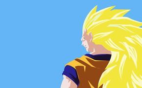 Картинка взгляд, фон, парень, блондин, Dragon Ball