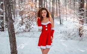 Картинка зима, лес, девушка, снег, поза, платье, кудри, холодно, Алина Заславская, Григорий Лифин