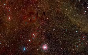 Картинка Nebula, Constellation Vela, Digitized Sky Survey 2, Wide-field view, Dust clouds, HH 47, Herbig-Haro, HH …
