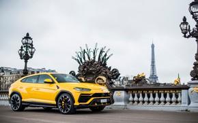 Картинка Париж, Lamborghini, Эйфелева башня, вид сбоку, 2018, Urus