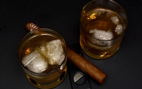 Картинка лёд, сигара, стаканы, виски