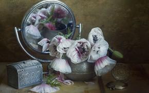 Картинка вода, капли, цветы, маки, зеркало, шкатулка, вазочка