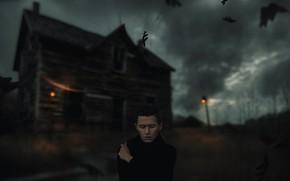 Картинка парень, старый дом, ветер, листья, Alexander Shark