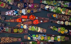 Картинка река, лодки, Таиланд, фрукты, овощи, базар, Tha Kha