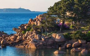Картинка море, небо, солнце, деревья, камни, побережье, Франция, горизонт, домик, Brittany, Saint-Guirec