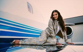 Картинка девушка, поза, улыбка, самолет, волосы, красотка, Hailee Steinfeld