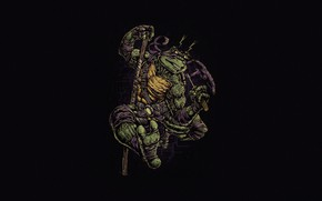 Картинка Минимализм, Стиль, Фон, Черепашки-ниндзя, Art, Style, TMNT, Donatello, Донателло, Teenage Mutant Ninja Turtles, Background, Helix, …
