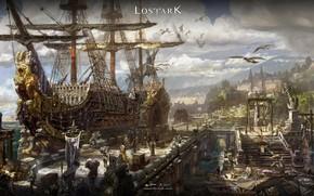 Картинка city, fantasy, game, sky, sea, clouds, people, ship, digital art, boats, pier, artwork, harbor, goods, …
