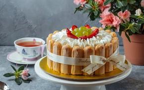 Картинка ягоды, тарелка, торт, крем