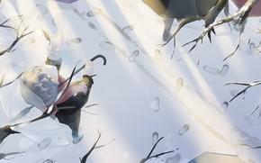 Картинка зима, снег, следы, зонтик, парень