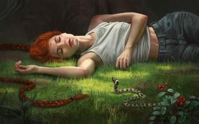 Картинка лес, девушка, змея, фэнтези, арт, Illustrator, Alex Shiga, A slumber