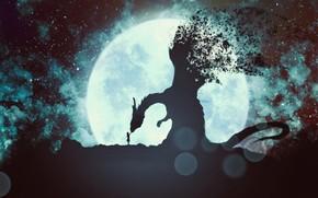 Картинка девушка, луна, дракон, фэнтези