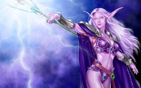 Картинка девушка, магия, молнии, посох, эльфийка, World Of WarCraft