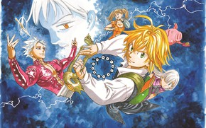 Картинка арт, Диана, Элизабет, Кинг, Nanatsu no Taizai, Бан, Мелиодас