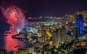 Картинка огни, вечер, фейерверк, Монако