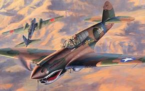 Картинка Curtiss, Warhawk, американский истребитель, P-40E