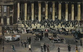 Картинка картина, городской пейзаж, Люсьен Адрион, Lucien Adrion, Площадь Биржи