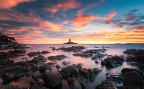 Картинка закат, камни, побережье, Франция, вечер, Le Dramont