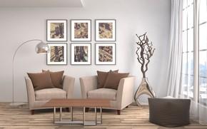 Картинка дизайн, стол, мебель, кресло, окно, картины, гостиная