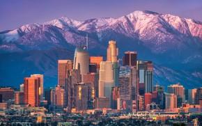 Картинка солнце, пейзаж, горы, дома, небоскребы, Калифорния, США, Лос-Анджелес, Los Angeles