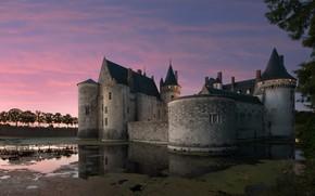 Картинка закат, пруд, замок