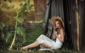 Картинка взгляд, девушка, улыбка, настроение, подсолнух, шляпа, Dmitry Arhar, Дмитрий Архар