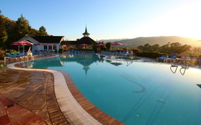 Картинка вилла, бассейн, утро, отель, курорт, Madonna Inn