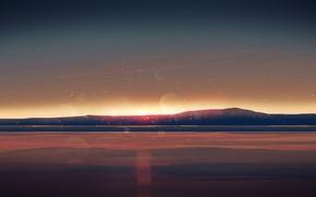 Картинка море, небо, закат, горы