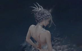 Картинка кровь, перья, причёска, серый фон, диадема, раны, princess, Celestia, со спины, Ghost Blade, Wlop, чокер, …