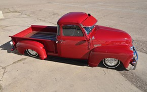 Картинка Chevrolet, Red, Tuning, Pickup, Low, 3100