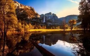 Картинка солнце, деревья, горы, озеро, отражение, водопад