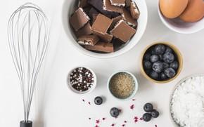 Картинка ягоды, шоколад, печенье, черника, сахар, cake, крем, выпечка, Chocolate, мука