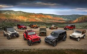 Картинка Jeep, Willys, Wrangler Rubicon, Wrangler Sahara, CJ-5, CJ-2A, Wrangler TJ, Wrangler Renegade