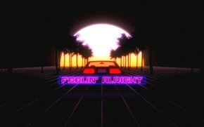 Картинка Закат, Солнце, Авто, Ночь, Музыка, Машина, Стиль, Пальмы, Car, DeLorean DMC-12, Арт, Art, 80s, Sun, …