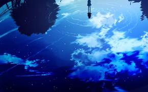 Картинка небо, вода, девушка, отражение