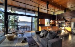 Картинка интерьер, кухня, interior, столовая, загородный дом, modern lake house