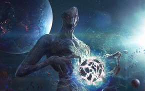 Картинка космос, монстр, существо