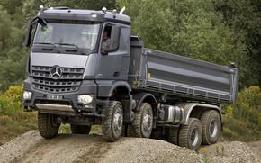 Картинка лес, серый, Mercedes-Benz, грунт, 2013, самосвал, Arocs, четырёхосный