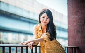 Картинка девушка, брюнетка, азиатка, милашка, боке
