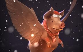 Картинка снег, новый год, крылья, свинья, by GaudiBuendia