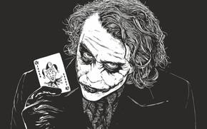 Картинка карта, арт, Джокер, злодей, ч\б, Joker, DC Comics, враг Бэтмена