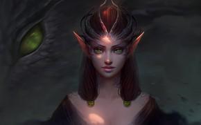 Картинка dark, girl, fantasy, green eyes, dragon, digital art, artwork, fantasy art, Elf, creature, fantasy girl, ...