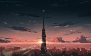 Картинка закат, Япония, Токио