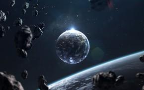 Картинка Звезды, Планета, Космос, Свет, Light, Арт, Stars, Space, Блик, Art, Спутник, Planet, Universe, Galaxy, Фантастика, …