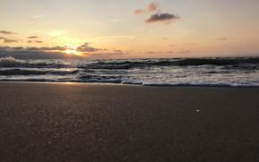 Картинка море, пляж, закат