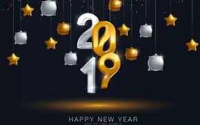 Картинка золото, шары, Новый Год, цифры, golden, черный фон, black, balls, background, New Year, Happy, sparkle, …